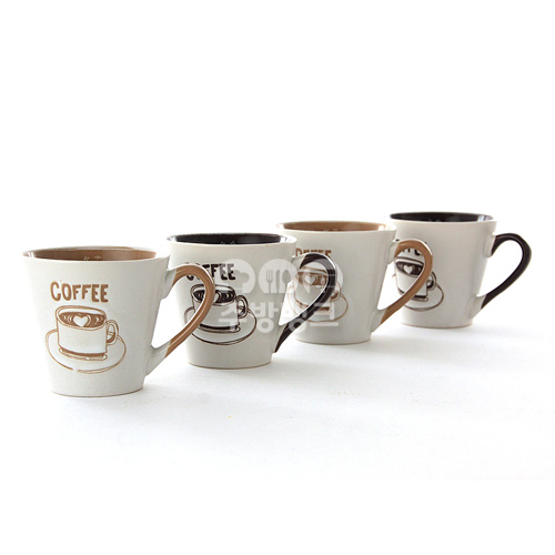 드로잉 머그컵(소)4P 커피잔 1Set= 4P/ (5Set 묶음판매)