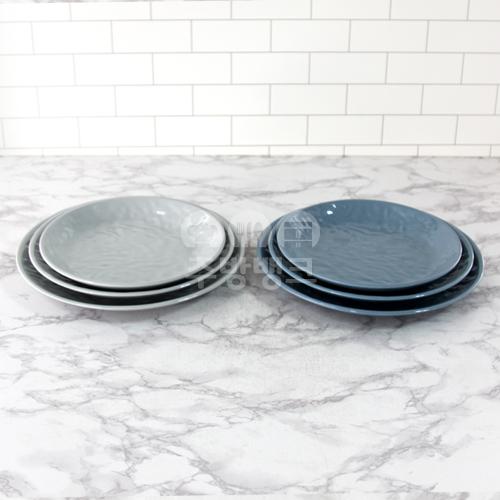 그레이 청블루 원형 접시